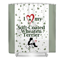 Shower Curtain featuring the digital art I Love My Wheaten Terrier by Rebecca Cozart