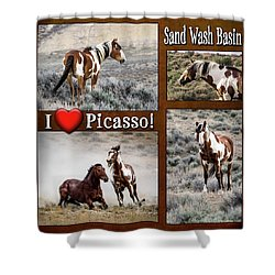 I Love Picasso Collage Shower Curtain by Nadja Rider