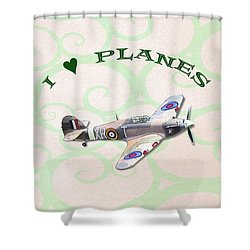 I Love Planes - Hurricane Shower Curtain