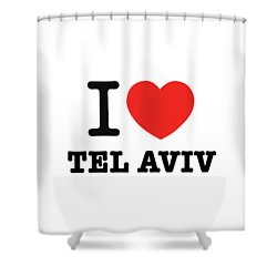 Shower Curtain featuring the photograph i love Tel Aviv by Ron Shoshani