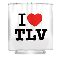 Shower Curtain featuring the photograph i love TLV by Ron Shoshani