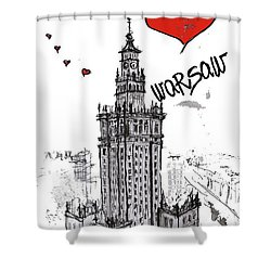 I Love Warsaw Shower Curtain by Sladjana Lazarevic