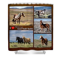 I Love Wild Horses Of Sand Wash Basin Shower Curtain