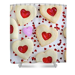 Shower Curtain featuring the photograph I Love You Heart Cookies by Teri Virbickis