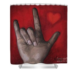 Shower Curtain featuring the painting I Love You by Jindra Noewi