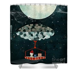 Shower Curtain featuring the painting I See The Moon Too by Bri B