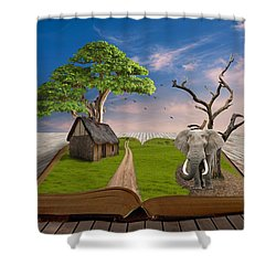 Shower Curtain featuring the mixed media I Thought I Saw An Elephant by Marvin Blaine
