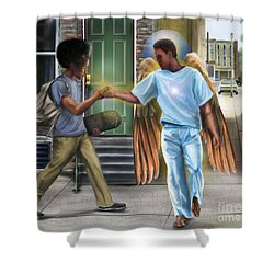 I Walk With Angels Shower Curtain