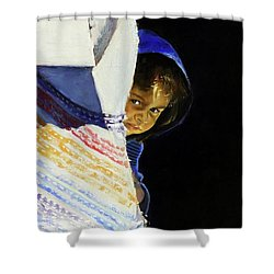 I Was A Stranger Shower Curtain by Gordon Bell