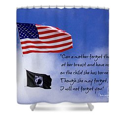 Shower Curtain featuring the photograph I Will Not Forget You American Flag Pow Mia Flag Art by Reid Callaway
