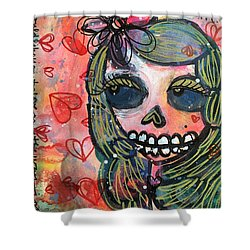 Shower Curtain featuring the painting I Would Like You To Love Me by Laurie Maves ART
