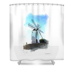 Ibiza Windmill Shower Curtain by Roger Lighterness