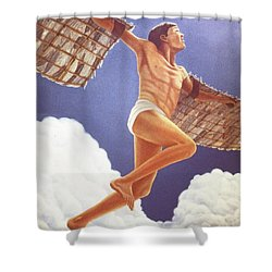 Icarus Ascending Shower Curtain by Laurie Stewart