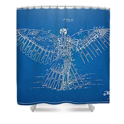 Icarus Human Flight Patent Artwork Shower Curtain by Nikki Marie Smith
