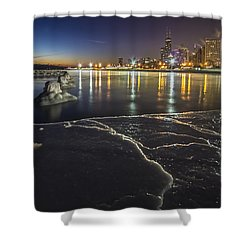 Ice And Chicago Skyline At Dawn  Shower Curtain