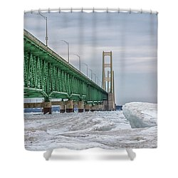 Shower Curtain featuring the photograph Ice And Mackinac Bridge  by John McGraw