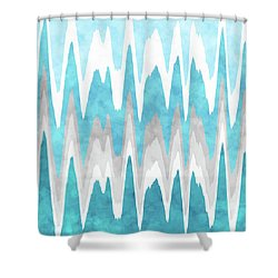 Shower Curtain featuring the mixed media Ice Blue Abstract by Christina Rollo