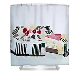 Ice Cream Cake Watercolor Shower Curtain
