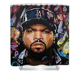 Shower Curtain featuring the painting Ice Cube by Richard Day