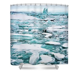 Shower Curtain featuring the photograph Ice Galore In The Jokulsarlon Glacier Lagoon Iceland by Matthias Hauser