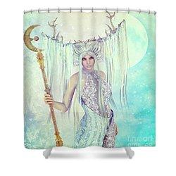 Shower Curtain featuring the digital art Ice Moon Princess by Jutta Maria Pusl