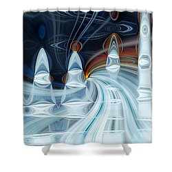 Ice Mountain Shower Curtain by Cherie Duran