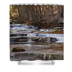Ice On Fall Stream Shower Curtain