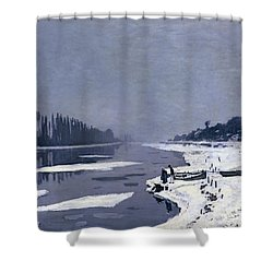 Ice On The Seine At Bougival Shower Curtain by Claude Monet