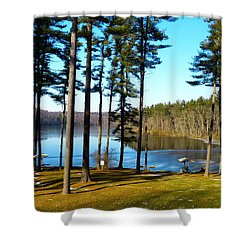 Shower Curtain featuring the photograph Ice On The Water by Donald C Morgan