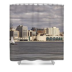 Ice Sailing - Lake Monona - Madison - Wisconsin Shower Curtain