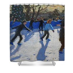 Ice Skaters At Christmas Fayre In Hyde Park  London Shower Curtain by Andrew Macara