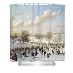 Ice Skating, 1865 Shower Curtain by Granger