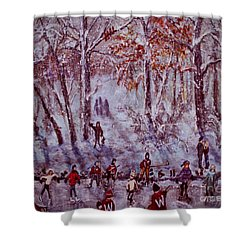 Ice Skating On Hardy Pond Shower Curtain