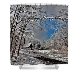 Ice Storm Christmas Card Shower Curtain by Lois Bryan