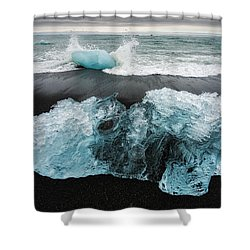Shower Curtain featuring the photograph Iceberg And Black Beach In Iceland by Matthias Hauser
