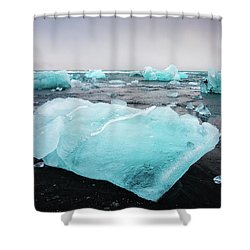 Shower Curtain featuring the photograph Iceberg Pieces In Iceland Jokulsarlon by Matthias Hauser