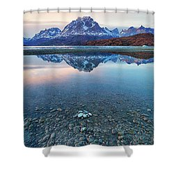 Icebergs And Mountains Of Torres Del Paine National Park Shower Curtain by Phyllis Peterson