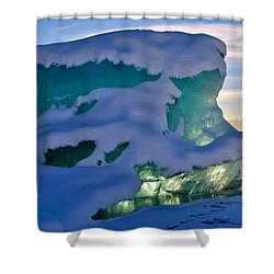 Iceberg's Glow - Mendenhall Glacier Shower Curtain by Cathy Mahnke