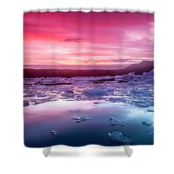 Icebergs In Jokulsarlon Glacial Lagoon Shower Curtain