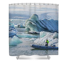 Icebergs On Jokulsarlon Lagoon In Iceland Shower Curtain by Venetia Featherstone-Witty