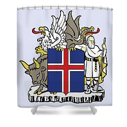 Iceland Coat Of Arms Shower Curtain by Movie Poster Prints