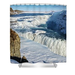 Shower Curtain featuring the photograph Iceland Gullfoss Waterfall In Winter With Snow by Matthias Hauser