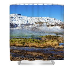 Iceland Landscape Geothermal Area Haukadalur Shower Curtain by Matthias Hauser
