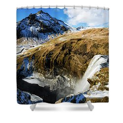 Shower Curtain featuring the photograph Iceland Landscape With Skogafoss Waterfall by Matthias Hauser