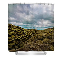 Iceland Moss And Clouds Shower Curtain by Venetia Featherstone-Witty