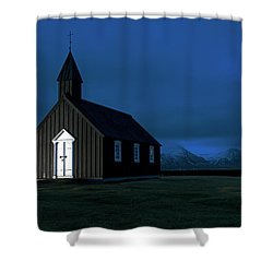 Shower Curtain featuring the photograph Icelandic Church At Night by Dubi Roman