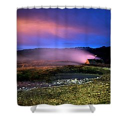 Shower Curtain featuring the photograph Icelandic Geyser At Night by Dubi Roman