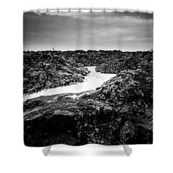 Icelandic Silica Stream In Black And White Shower Curtain