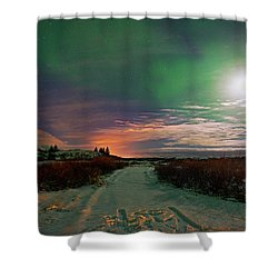 Shower Curtain featuring the photograph Iceland's Landscape At Night by Dubi Roman