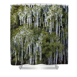 Shower Curtain featuring the photograph Icicle Cascade by JD Grimes